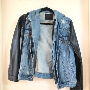 BLANK denim jacket with faux leather sleeves.